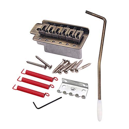 Healifty 1 Satz Tremolo Bridge Sattel 6 String Tremolo Bar Arm Wrench mit Schraubenfedern Rechtshänder für ST E-Gitarre System (Bronze) (Rechtshänder-bass-gitarre)