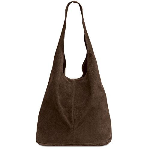 CASPAR TL767 Bolso de Hombro de Piel de Ante para Mujer, Color:marrón oscuro, Tamaño:Talla Única