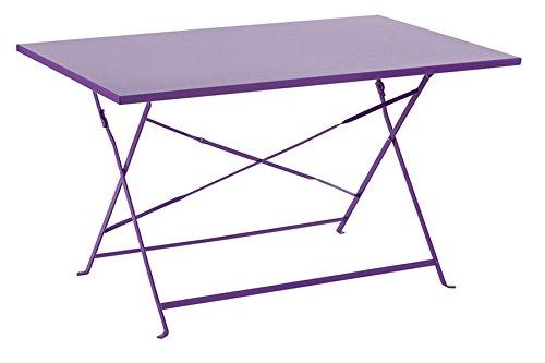 PEGANE Soldes Table Julia Rectangle Violette en Acier 4 Places, 110 x 70 x 71 cm