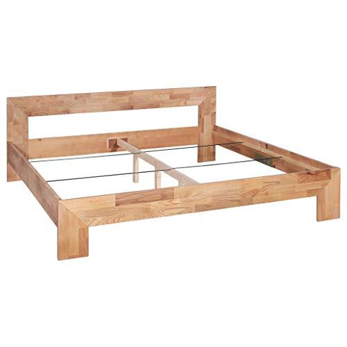 Festnight Bettrahmen   Elegant Bettgestell   Massivholzbett   Holz Doppelbett   Rustikal Holzbetten   Massivholz Eiche 180 x 200 cm