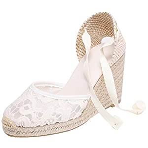 SimpleC Womens Summer Classical Wedges Heel Ankle Wrap Lace EspadrillesWhitelace4
