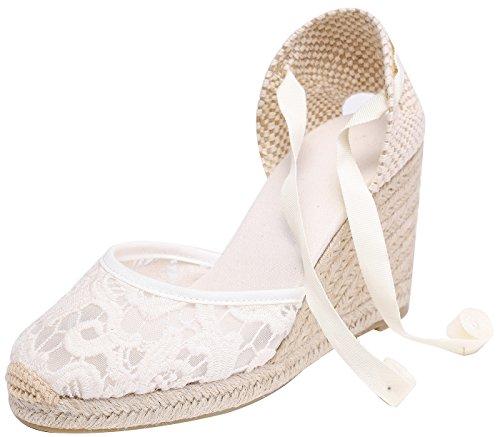 Heel eppers classic heel climbing da donna con tallone, intersuola naturale alla cavigliabianco(dentelle) 39