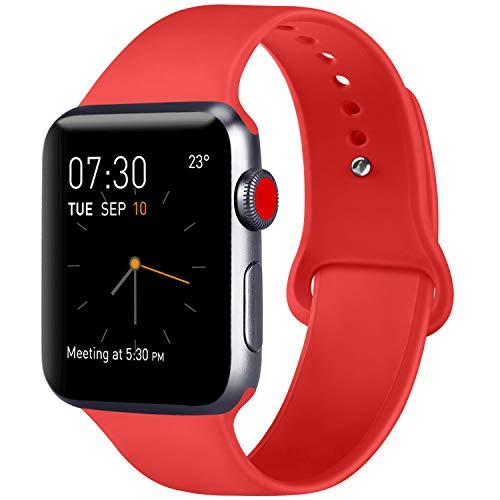 ATUP Armband Kompatibel für Watch Armband 38mm 42mm 40mm 44mm, Weich Silik on Ersatz Armband für iWatch Series 4, Series 3, Series 2, Series 1 (06 Orange Red, 38mm/40mm-S/M)