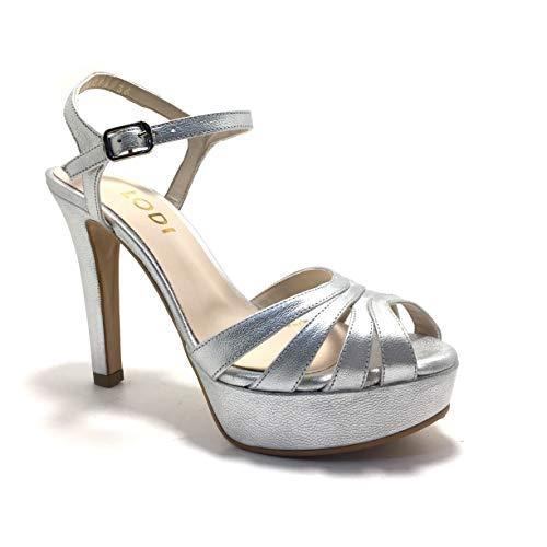 LODI TIGRUS, Sandalias para Vestir, con tacón y Plataforma, para Mujer, Color Metal Plata. - Cuero...