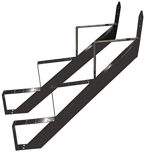 3 Stufen Treppenrahmen Stahl-Treppenwange Treppenholm Geschosshöhe 53cm / RAL 7016 Anthrazit-Grau/Ideal für den Einsatz im Innen und Außenbereich