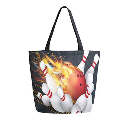 Hunihuni Canvas Tote Bag Bowling Ball Large Wiederverwendbar Lebensmitteltasche Einkaufstasche Schultertasche für Damen Mädchen
