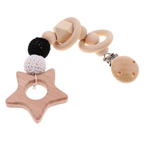 Universelle Schnuller-halter (Prettyia Baby Holz Schnuller Clips Halter Natur Beißringe Zahnen Baby Dusche Geschenk Teeth Spielzeug - Stil 1)