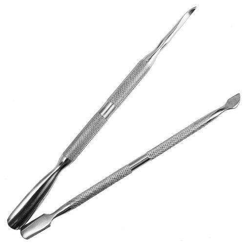 SODIAL(R) 2 en 1 Outils de depouiller les cuticules necrotiques en acier inoxydable(un gros et un petit)