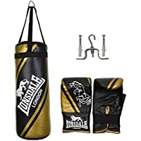 Lonsdale 2ft Punch Bag and Glove Set Junior Jab Boxing Set - Black and Gold 4aabbf1006