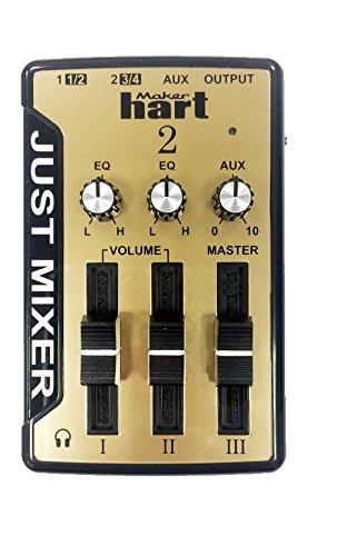 JUST MIXER 2 Audio Mixer - Kompakter USB-betriebener Stereo Desktop Mixer mit 3 Ein-/2 Ausgängen (3,5mm) plus USB Audio-Ausgang (Gold) Gold 3,5 Mm Audio