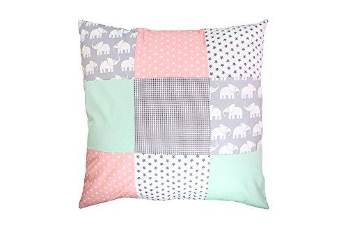 Funda patchwork para cojín de ULLENBOOM ® con elefantes menta rosa (funda...