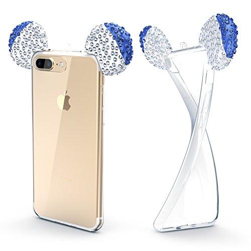Urcover® Maus Ohren Schutz-Hülle kompatibel mit Apple iPhone 7 Plus / 8 Plus   TPU/Silikonhülle Bling Ear Cover Blau Silber   Crystal Case   Bär Glitzer Girl Diamant Strass Schale Crystal Bling Case Cover