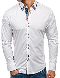 BOLF Hombres Camisa con mangas largas Camisa del ocio Slim Fit 4704