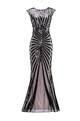 Metme Damen der 1920er Jahre Vintage Prom Fransen Pailletten lange Flapper brüllend Gatsby Kleid für Party (Kleid Perlen 1920er Der Jahre)