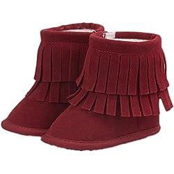 Culater® Bambino a due piani nappe Neve morbida stivali morbidi Presepe scarpe stivali bambino (13, Rosso)