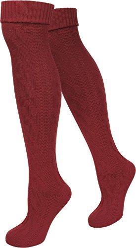 LANGE Trachtensocken Trachten Strümpfe für lederhosen Kniebund Socken Natur Farbe Burgund Größe 47/49