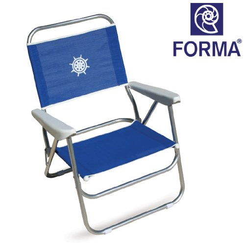 FORMA MARINE Strandstuhl Bikini; Gestell aus eloxiertem Aluminiumrohr; 20mm ; Stoff: Textilene 650gr/m2, blau. Kann auch als Campingmöbel, Klappsessel, Klappstuhl, Campingstuhl. PA560B (Marine-camping-stuhl)