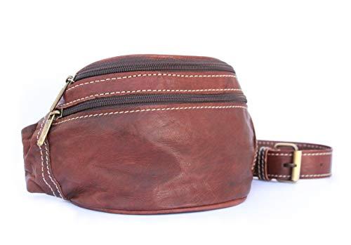 Leather Route. Riñonera de Cuero Estilo Retro. Versátil, Suave y Resistente. Diseñada en España y Cosida a Mano. Bolso Bandolera de Cintura de Elaboración Artesanal. Color Marrón