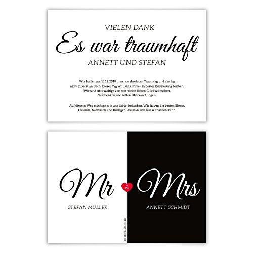 30 x Hochzeit Danksagungskarten Danksagungen Dankeskarten individuell - Mr. & Mrs.