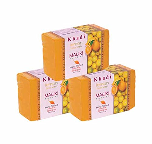 Khadi Mauri Lemon Soap Pack of 3 Herbal Ayurvedic Handcrafted Natural Soaps  available at amazon for Rs.180