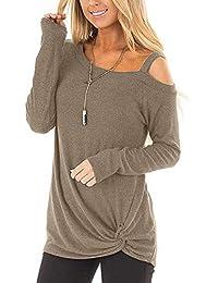 03ebb536a420 Genhoo Damen Sexy Schulterfrei Oberteile Casual Langarm Shirt Herbst  Einfarbig Lose Tunika Sweatshirt