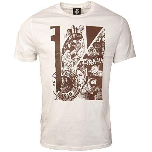 FC St. Pauli Herren T-Shirt Kunstdruck Collage Vereinslogo Hamburg Weiß Braun (XXXL)