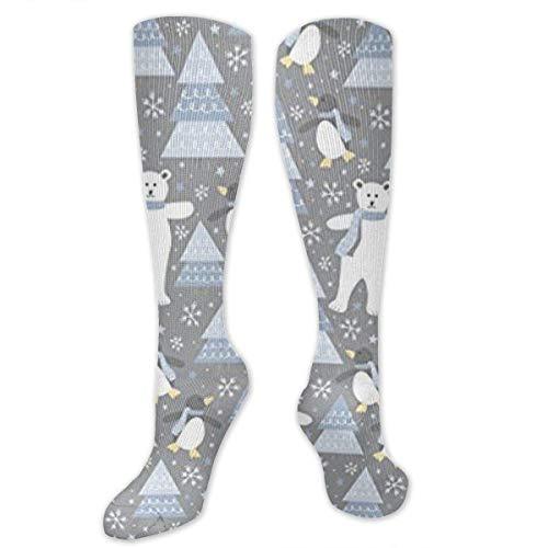 ouyjian Pinguin Eisbär Weihnachten Happy Compression Socks für Frauen & Männer - Kompressionsstrümpfe -