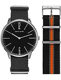 Pierre Cardin Armbanduhr Herrenuhr Quarz Uhr PC-La Gloire - Analoge Uhr mit grauem Textilarmband und anthrazitem Zifferblatt mit 2-farbigem Ersatzband - 30m/3atm - PC106991F12