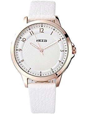 Kezzi Uhren Damen Rose Gold Quarz Analoge Weiß Leder Armbanduhr für Frauen K1164