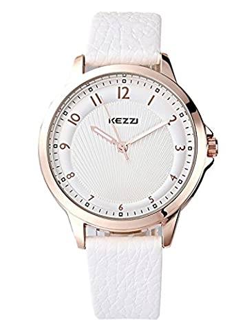 Kezzi Ladies Watches Rose Gold Quartz Analog White Leather Band Business Dress Casual Wrist Watch for