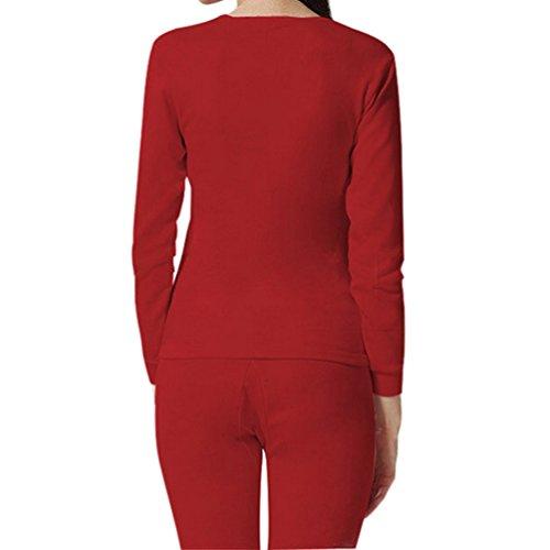 Samgoo Damen Rundhals Stretch duennes Einfarbig Langarm Winter Thermo-Unterwaesche Set, Leggings und Langarmshirt Dunkler Rot