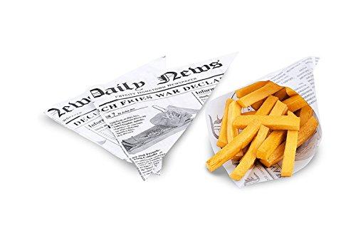 Kerafactum® - 20 Stück fettdichte Pommestüte Pommes Tüten Kartoffelstäbchen für Fish and Chips geeignet French Fries Motiv Daily News - Größe 25 x 18 cm