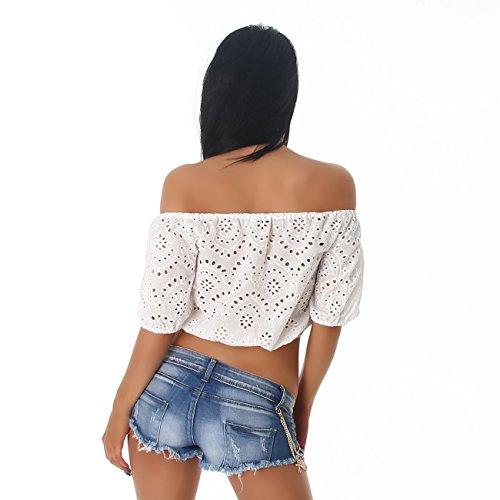 Damen Top Shirt bauchfrei Carmen Ausschnitt Stickerrei Oberteil Sommer Party Größe Farbe White