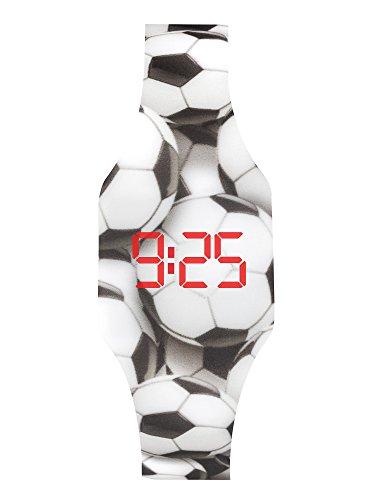 Digitale Uhr LED für Mädchen und Junge, Kinder und Jugendliche, Armbanduhr, aus weichen Silikon, ein stilvolles Geschenk (Fußball)
