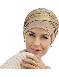 Turbante de lino Cari muy elegante, dorado con brillo