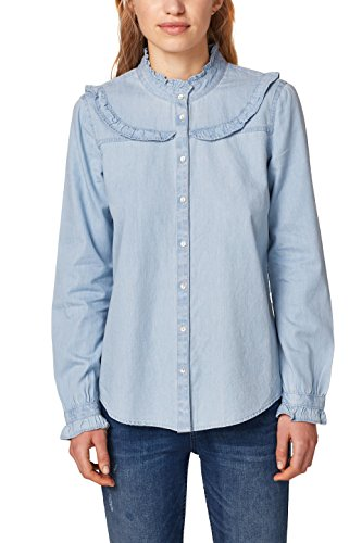 Esprit 028ee1f021, Blusa para Mujer, Azul (Light Blue 440), 42 (Talla del Fabricante: 40)