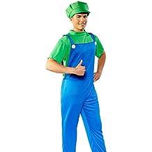 Verde/azul super fontanero T-Shirt, peto, gorro