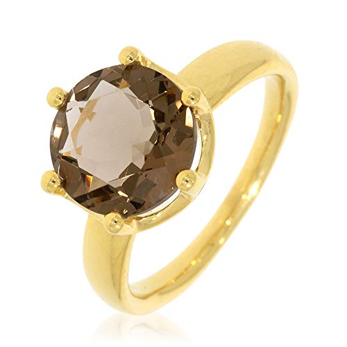 XEN Ring mit 10 mm Rauch-HT Quarz ca. 3,6 ct. gelbvergoldet 54 (17.2)