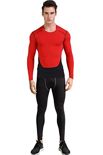 1Bests Men's Atheletic Sports Fitness Sets Running Basketball Gym Training Quick-drying Breathable Suits (XXL, - Black Skin-suit Halloween