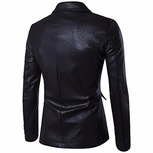 QIYUN.Z Hommes Décontracté Un Bouton Pu Faux Cuir Blazers Mince Costume Costume Noir