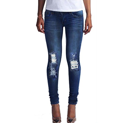 Sannysis pantalones vaqueros dril de algodón pantalones rotos azul (002, M)