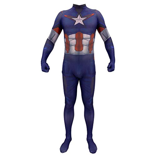 SDKHIN Men Avengers 4 Costume Anime Capitan America Costume di Halloween Bambino Adulto Masquerade Costume Cosplay,Blue-Kid S