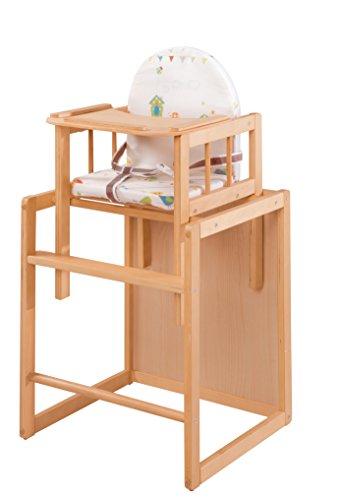 Trona Combi roba, trona con bandeja transformable en silla y mesa independientes, trona infantil en madera natural, asiento tapizado en diseño 'Woodla
