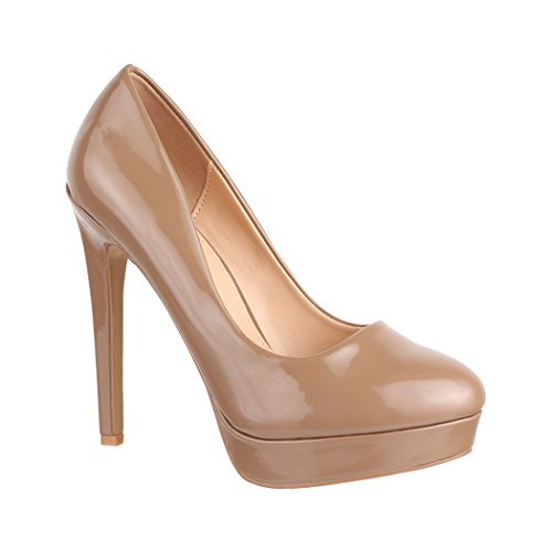 Elara Damen Plateau Pumps | High Heels Lackoptik | Vintage Schuhe | Chunkyrayan C-1 Khaki-38 Beige Pumps Khaki