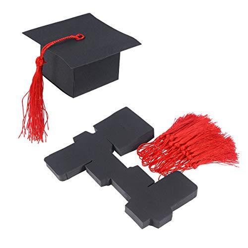 appe Pralinenschachtel Abschlussfeier Liefert Graduierung Geschenk Verpackung Box 50 STÜCKE (Schwarz mit Roten Ähren) ()