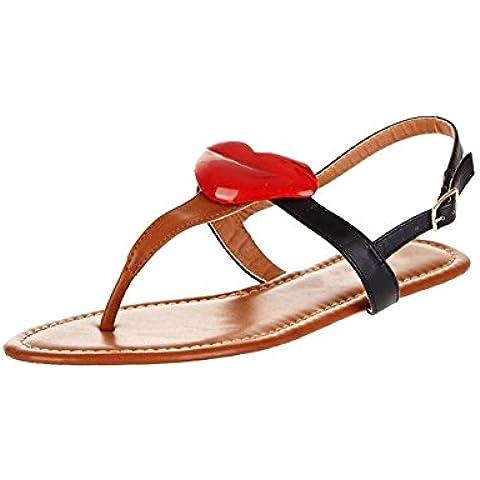 Sandalias de bar negro / tan t plana con los labios de rojo y post del dedo del pie al frente