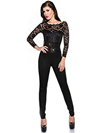 6ae2c24f4f56 Long sleeve jumpsuit with lace and sequins - fashionable bodysuit in  different colors and sizes business