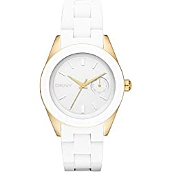 DKNY ny2144 35mm Stainless Steel Case White Silicone Mineral Women's Watch