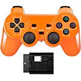 Wireless Double Shock Game Controller Compatible with PS Playstation Classic /PS1/PS2/PC (Bright orange)
