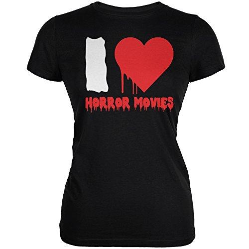 Ich Horror Filme schwarze Junioren weiches T-Shirt Liebe Halloween Black